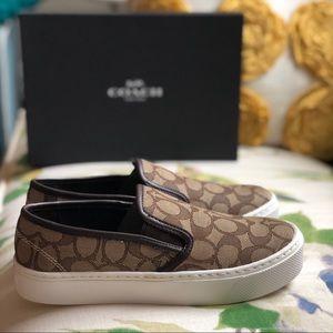 Coach CAMERON C Logo Khaki Slip On Sneaker Shoes